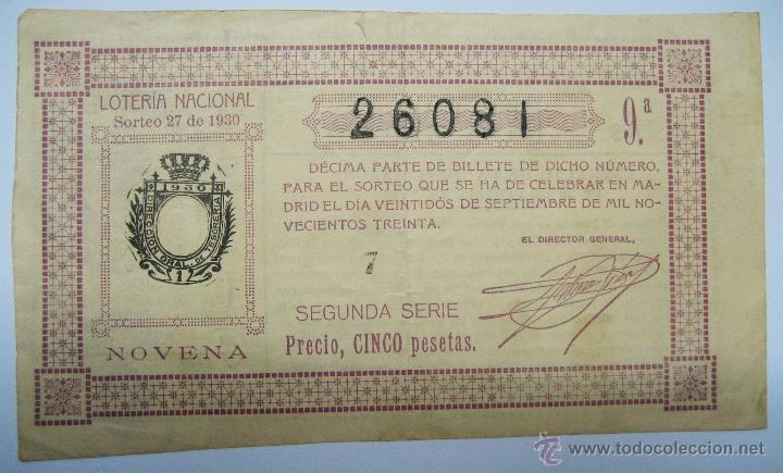 LOTERIA NACIONAL. DECIMO DEL SORTEO 22 DE SEPTIEMBRE DE 1930. LOTE 0010 (Coleccionismo - Lotería Nacional)