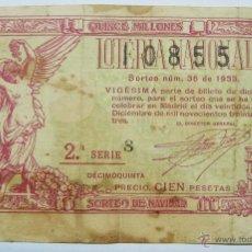 Lotería Nacional: LOTERIA NACIONAL. DECIMO DEL SORTEO Nº 36 DE 22 DICIEMBRE DE 1933. LOTE 0016. Lote 45622644