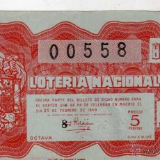 Lotería Nacional: LOTERIA NACIONAL. 1949. DÉCIMO SORTEO Nº 6. Lote 45643566