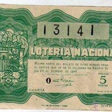 Lotería Nacional: LOTERIA NACIONAL. 1949. DÉCIMO SORTEO Nº 6. Lote 45643580