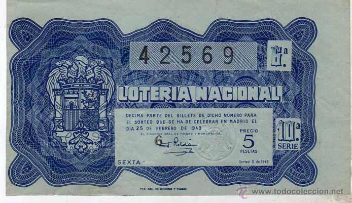 LOTERIA NACIONAL. 1949. DÉCIMO SORTEO Nº 6 (Coleccionismo - Lotería Nacional)
