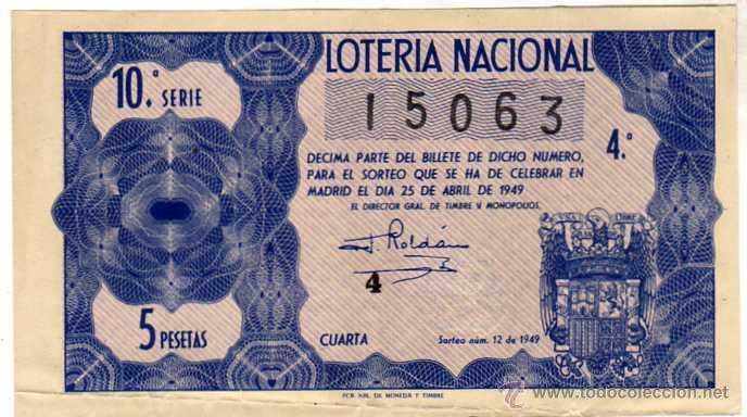 LOTERIA NACIONAL. 1949. DÉCIMO SORTEO Nº 12 (Coleccionismo - Lotería Nacional)