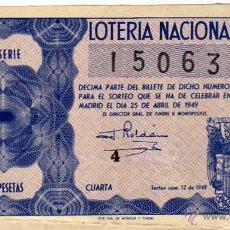 Lotería Nacional: LOTERIA NACIONAL. 1949. DÉCIMO SORTEO Nº 12. Lote 45643721