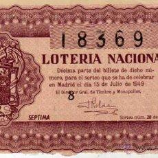 Lotería Nacional: LOTERIA NACIONAL. 1949. DÉCIMO SORTEO Nº 20. Lote 45643780