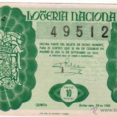 Lotería Nacional: LOTERIA NACIONAL. 1949. DÉCIMO SORTEO Nº 26. Lote 45643793
