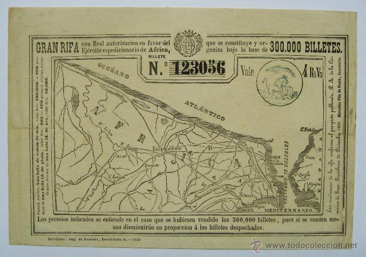 BARCELONA. GRAN RIFA ESPECIAL. EJERCITO EXPEDICIONARIO DE AFRICA, 24 DE DICIEMBRE DE 1859. LOTE 0018 (Coleccionismo - Lotería Nacional)