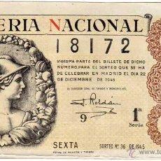 Lotería Nacional: LOTERIA NACIONAL SORTEO 36 DE 1945. Lote 45684220