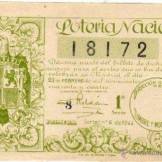 Lotería Nacional: LOTERIA NACIONAL SORTEO 6 DE 1944. Lote 45684440