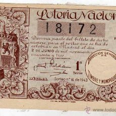 Lotería Nacional: LOTERIA NACIONAL SORTEO 16 DE 1943. Lote 45688408
