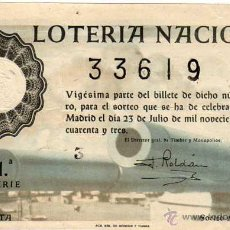 Lotteria Nationale Spagnola: LOTERIA NACIONAL SORTEO 21 DE 1943. Lote 45688539