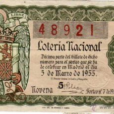 Lotteria Nationale Spagnola: LOTERIA NACIONAL SORTEO 3 DE 1955. Lote 45705926