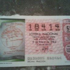 Lotería Nacional: 1 DECIMO LOTERIA DEL SABADO - 5 ENERO 1983 - EL NIÑO - PLANISFERIO DEL IMAGO MUNDI - MAPAMUNDI. Lote 45706331
