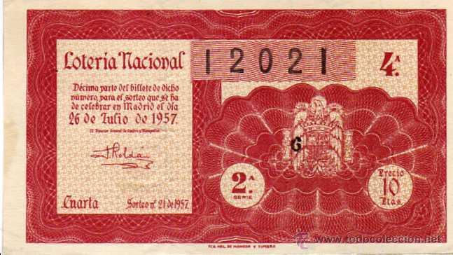 LOTERIA NACIONAL SORTEO 21 DE 1957 (Coleccionismo - Lotería Nacional)
