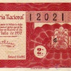 Lotería Nacional: LOTERIA NACIONAL SORTEO 21 DE 1957. Lote 45721667