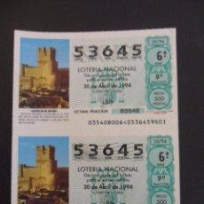 Lotería Nacional: CASTILLOS DE ESPAÑA. VILLENA, ALICANTE. LOTERIA NACIONAL Nº 53645. SORTEO DEL 30 DE ABRIL DE 1994. A. Lote 45875750