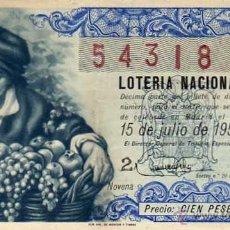 Lotteria Nationale Spagnola: LOTERIA NACIONAL, SORTREO Nº 20 DE 1959. . Lote 45924865