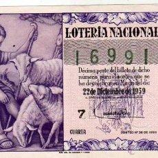 Lotteria Nationale Spagnola: LOTERIA NACIONAL SORTEO 36 DE 1959. Lote 45955247