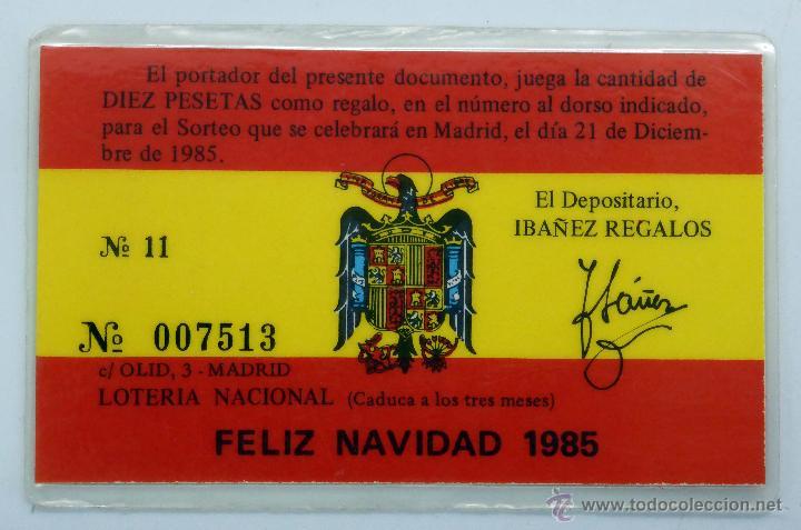 Lotería Nacional: Participación décimo Loteria Nacional Españoles Ilustres Tejero Sorteo Navidad 1985 plastificado - Foto 2 - 46020525