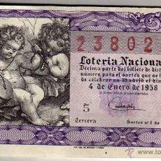 Lotteria Nationale Spagnola: DECIMO DE LOTERIA SORTEO 1 DE 1958. Lote 46023215