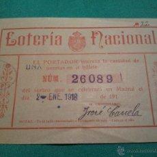 Lotería Nacional: 1918-LOTERIA NACIONAL . PARTICIPACIÓN . Lote 46083075