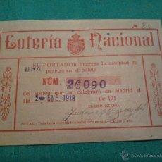 Lotería Nacional: 1918-LOTERIA NACIONAL . PARTICIPACIÓN . Lote 46083094
