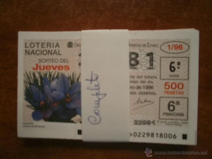 LOTERIA NACIONAL DE LOS JUEVES AÑO 1996 COMPLETO (Coleccionismo - Lotería Nacional)