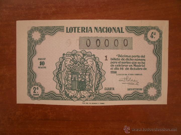 DECIMO DE LOTERIA NACIONAL AÑO 1950 , SORTEO Nº 29 , CAPILLA 00000 (Coleccionismo - Lotería Nacional)