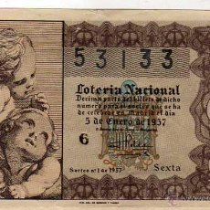 Lotteria Nationale Spagnola: LOTERIA NACIONAL SORTEO 1 DE 1957 MARRON. Lote 46917222