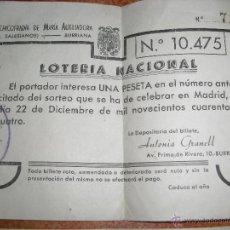 Lotería Nacional: DOS PARTICIPACIONES LOTERIA NACIONAL BURRIANA AÑOS CUARENTA COFRADIA. Lote 47193781