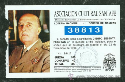 PAPELETA LOTERIA NACIONAL FRANCO SORTEO NAVIDAD AÑO 1998 (Coleccionismo - Lotería Nacional)