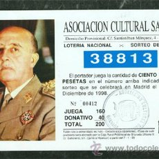 Lotería Nacional: PAPELETA LOTERIA NACIONAL FRANCO SORTEO NAVIDAD AÑO 1998. Lote 47359259