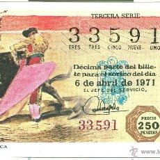 Lotería Nacional: LOTERIA NACIONAL - SORTEO 11/71 - 6/04/1971 - MEDIA VERÓNICA. Lote 47475841
