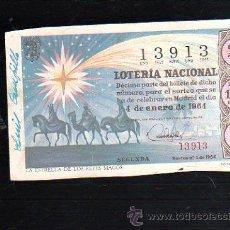 Lotería Nacional: BILLETE DE LOTERIA NACIONAL. SORTEO NUMERO 1 DE 1964.. Lote 47551173