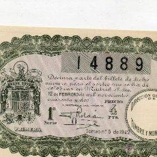 Lotería Nacional: ANTIGUA LO TERIA NACIONAL-SORTEO 5 DEL 1942. Lote 47553191