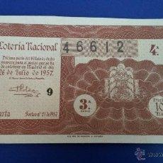 Lotería Nacional: LOTERÍA NACIONAL SORTEO 21 DE 1957. Lote 47592847