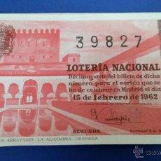 Lotería Nacional: LOTERÍA NACIONAL SORTEO 5 DE 1962. Lote 47642997