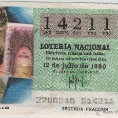 Lotería Nacional: LOTERÍA NACIONAL - SORTEO 27/80 - 12/06/1980 - SEMANARIOS ILUSTRADOS S. XIX. Lote 47683231