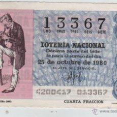 Lotería Nacional: LOTERÍA NACIONAL - SORTEO 42/80 - 25/10/1980 - REPORTERO. CARICATURA (1892). Lote 47683450