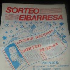 Lotería Nacional: FOLLETO REGALOS ELECTRODOMESTICOS - LOTERIA NACIONAL 1984. Lote 47880077