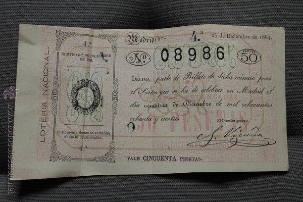 LOTERÍA NACIONAL. SORTEO DEL 23 DE DICIEMBRE DE 1884. VALE CINCUENTA PESETAS. (Coleccionismo - Lotería Nacional)