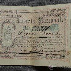 Lotería Nacional: LOTERÍA. NACIONAL. SORTEO 34 DE 1895. 23 DE DICIEMBRE DE 1895. CINCO PESETAS. Nº 22.971. Lote 47966716