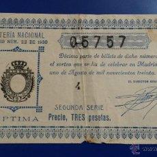 Lotería Nacional: LOTERÍA NACIONAL SORTEO 22 DE 1930. Lote 47988294