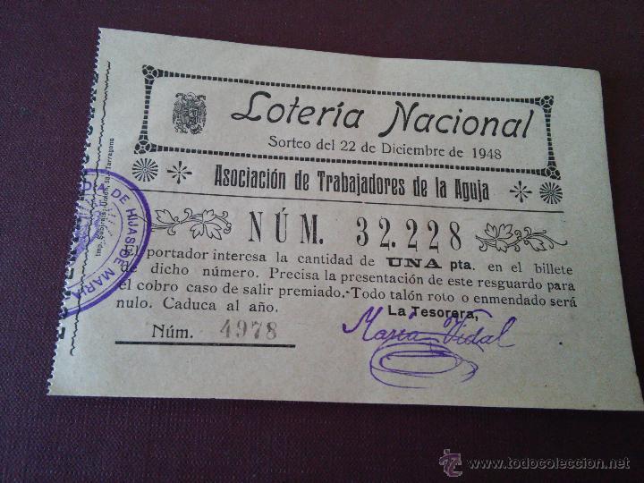 TARRAGONA - PARTICIPACION LOTERIA NAVIDAD AÑO 1948 - EMISOR ASOCIACION DE TRABAJADORES DE LA AGUJA (Coleccionismo - Lotería Nacional)