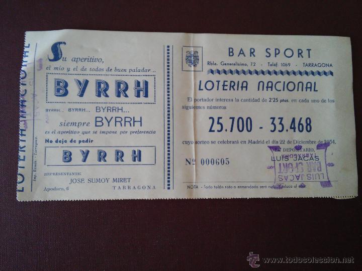 TARRAGONA - PARTICIPACION LOTERIA NAVIDAD AÑO 1954 - EMISOR BAR SPORT - VER ANUNCIOS (Coleccionismo - Lotería Nacional)