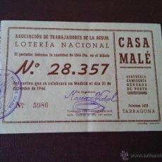 Lotería Nacional: TARRAGONA - PARTICIPACION LOTERIA NAVIDAD AÑO 1946 - EMISOR ASOCIACION DE TRABAJADORES DE LA AGUJA . Lote 48352887