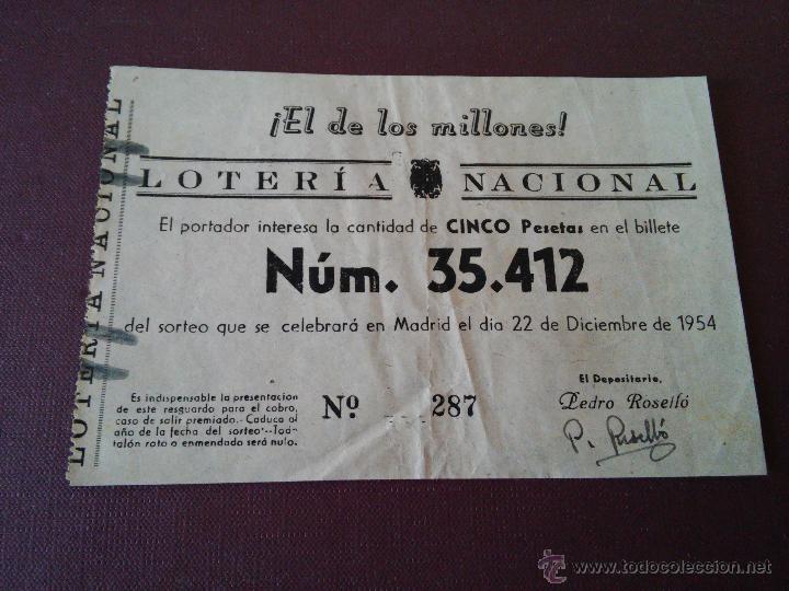 AÑO 1954 - 4 PARTICIPACIONES DE LOTERIA DEL 22 DICIEMBRE (Coleccionismo - Lotería Nacional)