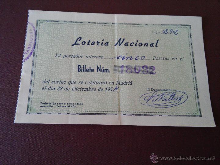 Lotería Nacional: AÑO 1954 - 4 PARTICIPACIONES DE LOTERIA DEL 22 DICIEMBRE - Foto 3 - 48364958