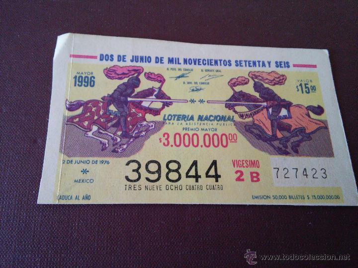 MEXICO - LOTERIA NACIONAL - DOS JUNIO DE MIL NOVECIENTOS SETENTA Y SEIS (Coleccionismo - Lotería Nacional)