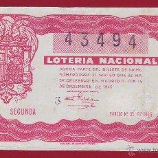 Lotería Nacional: LOTERIA 1945 SORTEO NÚMERO 35. Lote 48652581