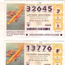 Lotería Nacional: CUPON DE LA LOTERIA NACIONAL CON MOTIVO AERONAUTICO. Lote 48655227